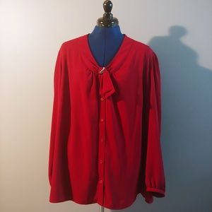 Red Elegant Blouse With Diamond pin